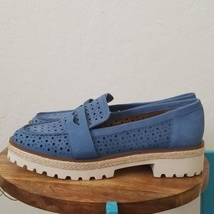 Blue Suede Nine West Loafers Size 9